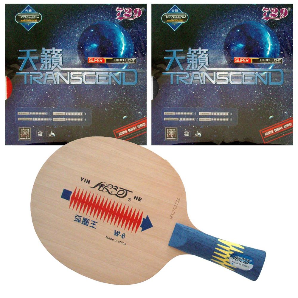 Galaxy YINHE W-6 Blade with 2x RITC729 TRANSCEND CREAM Rubbers for a Table Tennis Combo Racket FL hrt 2091 blade with galaxy yinhe 9000e dawei 388a 4 rubbers for a table tennis combo racket fl
