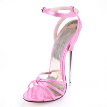 Summer Metal 16cm ultra high heel sandals opening pointed toe female sandals sexy ankle buckle Strap woman party shoes big size