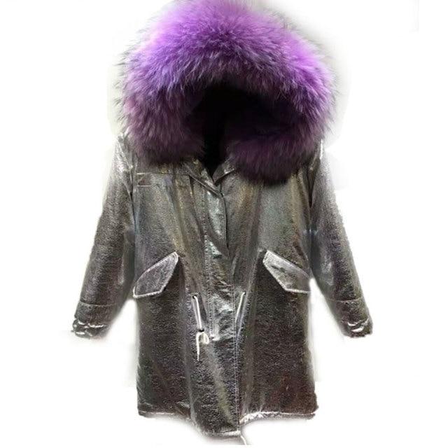 Астрид Blusa Одежда высшего качества Модные теплые Для женщин длинные Зимняя Куртка парка с меховым воротником Золотой длинное пальто с Мех подкладкой зимняя верхняя одежда