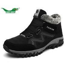 Ланти Каст из натуральной кожи теплые плюшевые Треккинговые ботинки Для мужчин резиновая подошва Нескользящая восхождение Обувь плюс Мех Высокие сапоги прогулочная Спортивная обувь