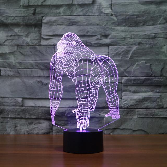 Ilusión 3D Gorila Orangután Chimpancé de Halloween de la Ilusión Óptica LED USB lámpara de Escritorio Lámpara de Mesa de Luz de La Noche de Iluminación para Halloween Navidad