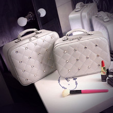 2016 New Women PU Leather Cosmetic Bag Fashion Diamond Portable Vanity Case Female Big capacity Makeup Storage Box 2 Size