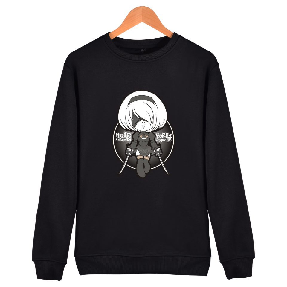 Game Nier Automata Sweatshirt Yorha 2B Capless Hoodie plus size Pullovers unisex hoodies and Sweatshirts casual blouse shirt