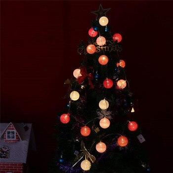 Luces De Navidad De 3 M Luces LED De Bola De Algodón Cadena Con Pilas Fiesta De Boda Decoración De Dormitorio DIY Linternas 6 Cm Bombillas