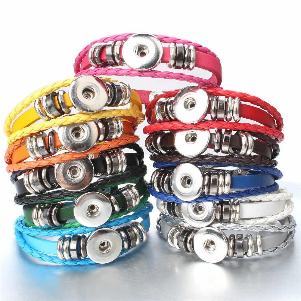 Hot sprzedaż Snap bransoletka skórzana Retro ręcznie pleciona guzik skórzany Snap bransoletki fit 18MM zaskoczy dla kobiet mężczyzn przyciski biżuteria
