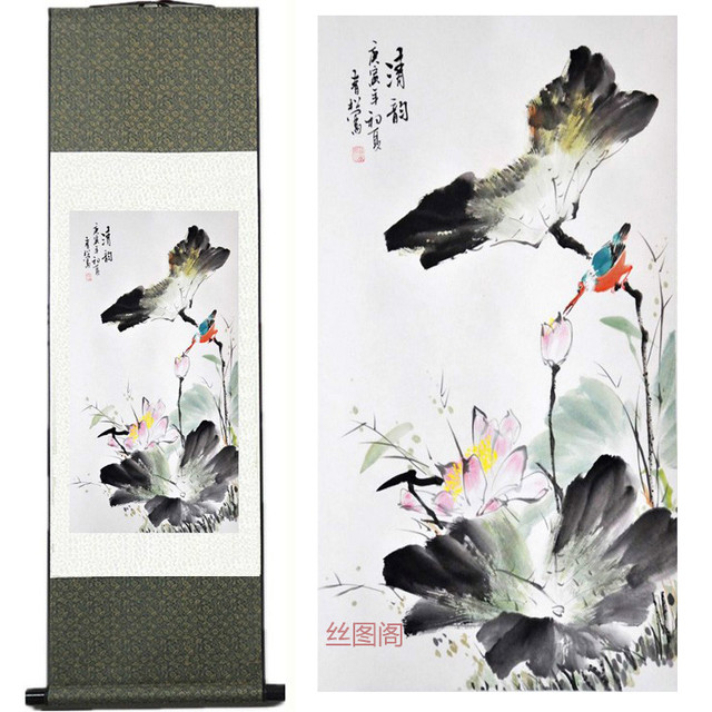 479b4b629 Chinese Silk watercolor flower and birds ink Lotus Kingfisher original art  canvas wall damask picture framed scroll paintings