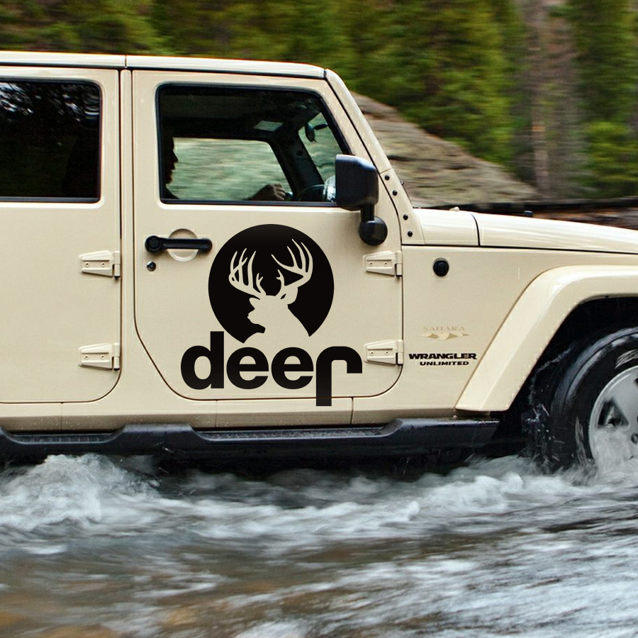 Us 27 12 30 offcar sticker 2pc side door deer jdmgraphic vinyl car decal custom for jeep wrangler unlimited rubicon 2016 in car stickers from