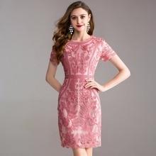Werk Office zomer lente jurk 2018 nieuwe Kleding vrouwen elegante dames Feestjurk plus size 3xl O hals Pakket heupen Potlood jurk