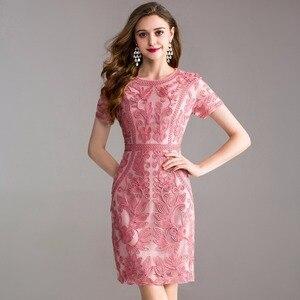 Image 1 - Werk Office zomer lente jurk 2018 nieuwe Kleding vrouwen elegante dames Feestjurk plus size 3xl O hals Pakket heupen Potlood jurk
