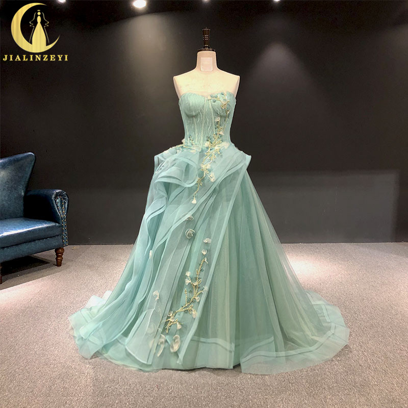 JIALINZEYI Real Picture Light Green Sweatheart Beads Sexy  Formal Dresses Party Evening Dresses