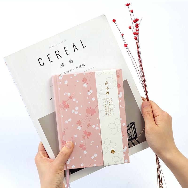 Japanese Kawaii Cute Sakura Flower Planner Dairy Monthly Weekly Plan Colorful Blank Line Grid Dot Page 2018 Schedule Notebook A5