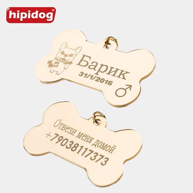 2 pz/lotto In Acciaio Inox Pet Tag ID Osso a Forma di Doppio Lati Personalizzato