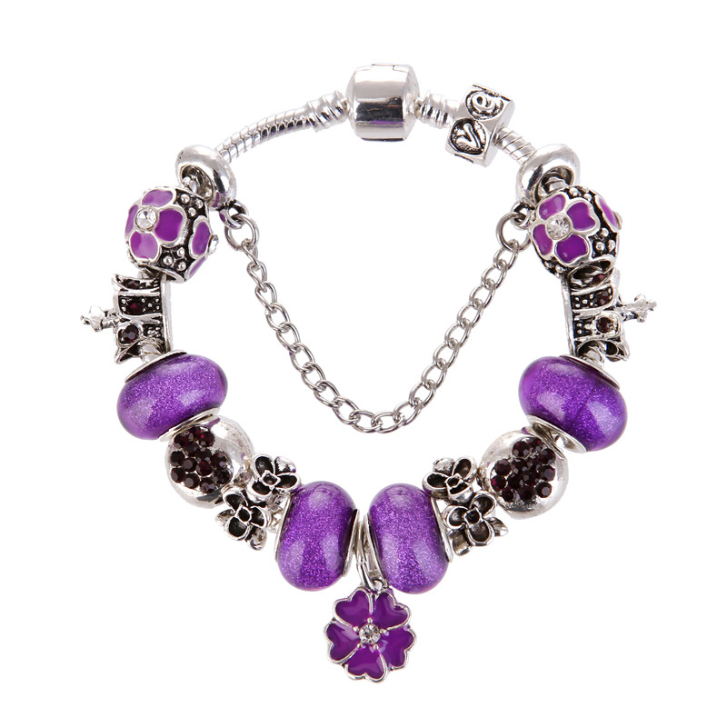 High Quality Purple Beads Flower Pendant Charm Noble Pretty Bracelet Pandora Bracelet For Women/Gril gift jewelry Drop Shipping