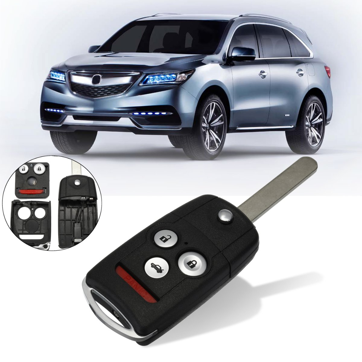 #KK-2620 3+1 Buttons Remote Flip Car Key Fob Shell Case w/ Uncut Blade For Honda/Accord/Acura TL TSX MDX RDX ZDX 2007 2008 2009#KK-2620 3+1 Buttons Remote Flip Car Key Fob Shell Case w/ Uncut Blade For Honda/Accord/Acura TL TSX MDX RDX ZDX 2007 2008 2009