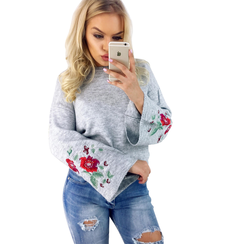Winter Autumn Women Sweaters Pullover Floral Embroideried  Long Sleeve Loose Sweater Knitted Outwear Women Clothes