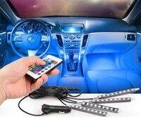 4PCS Car RGB LED Strip SMD 16 Colors Car Interior Decorative Atmosphere Strip Auto RGB Pathway