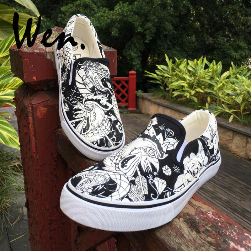 Wen Original Design Hand Painted Shoes Wild Look Rooster Cock Snake Floral Pattern Custom Slip On Black Unisex Canvas Sneakers