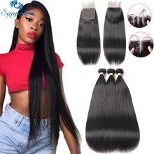 Sapphire Straight Hair Bundles With Closure Remy Human Hair 3 Bundles With Closure Brazilian Hair Weave Bundles With Closure 4*4