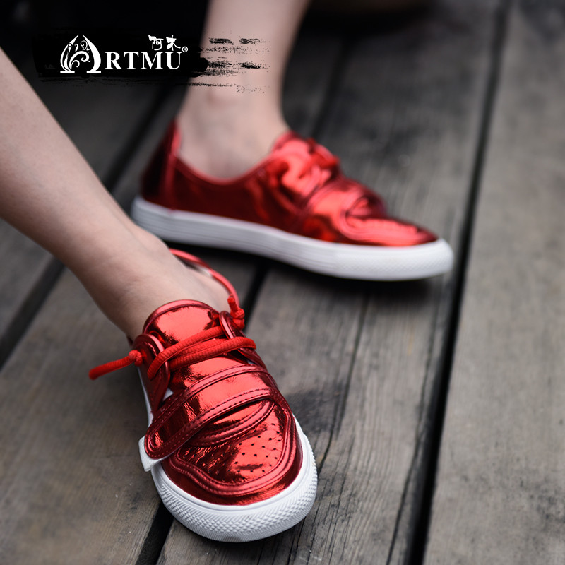 La Vache À En Zapatos De Sneakers Femme Plat Mode Femelle Chaussures Mujer Femmes Cuir Doux Main Rouge Artmu Vulcaniser FR16x