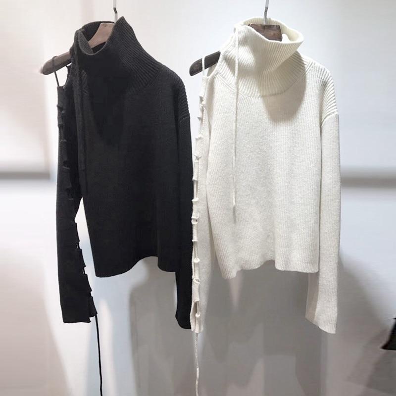 Couleurs Chandail Creux Nouveautés De 2 Noir Mode M S Pull Épaule Out Off 2018 Tricoté L Printemps Femmes blanc qttvg