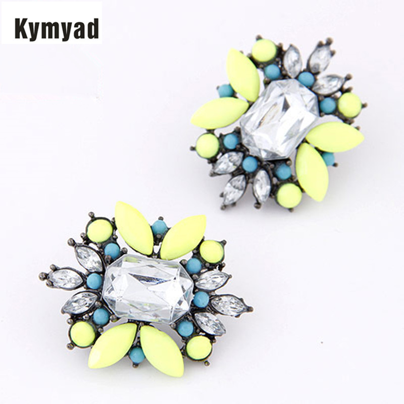 Kymyad Vintage Earing Luxury Earrings For Women Bijoux Crystal Stud Earrings Elegant Earring Summer Style Flower Earings Jewelry