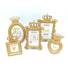 Vintage Resin Photo Frame Luxury Baroque Style Gold Crown Decor Creative Resin Picture Desktop Photo Frame Gift for Friend continental american style gold resin luxury photo frame creative fashion like frame wall decoration