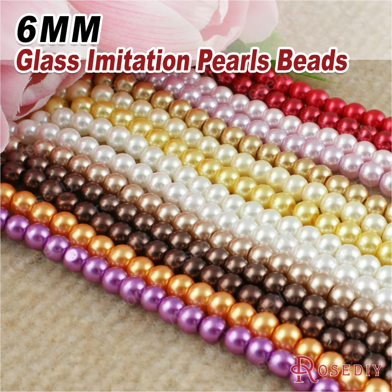 7683 Beads 1 String,about 140 Beads 6mm Dyeing Color Glass Imitation Pearls Round Beads Ball Beads Jewelry Accessories Findings Elegant And Sturdy Package Beads & Jewelry Making