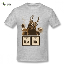 New Custom Chemistry Bear Discovered Beer bear T-shirt For Man Free Shipping Streetwear Boy Round Collar T-Shirt