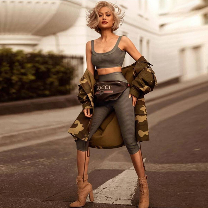 Ocstrade Bodycon Bandage Two Piece Set Top and Pants Summer Women Outfits New Arrival 2019 Army