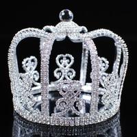 מצנפות כתרים עגולים נסיך מלך גברים מדהימים נקה ריינסטון Crystal חתונת כלה תחרות תלבושות מפלגה תכשיטי שיער