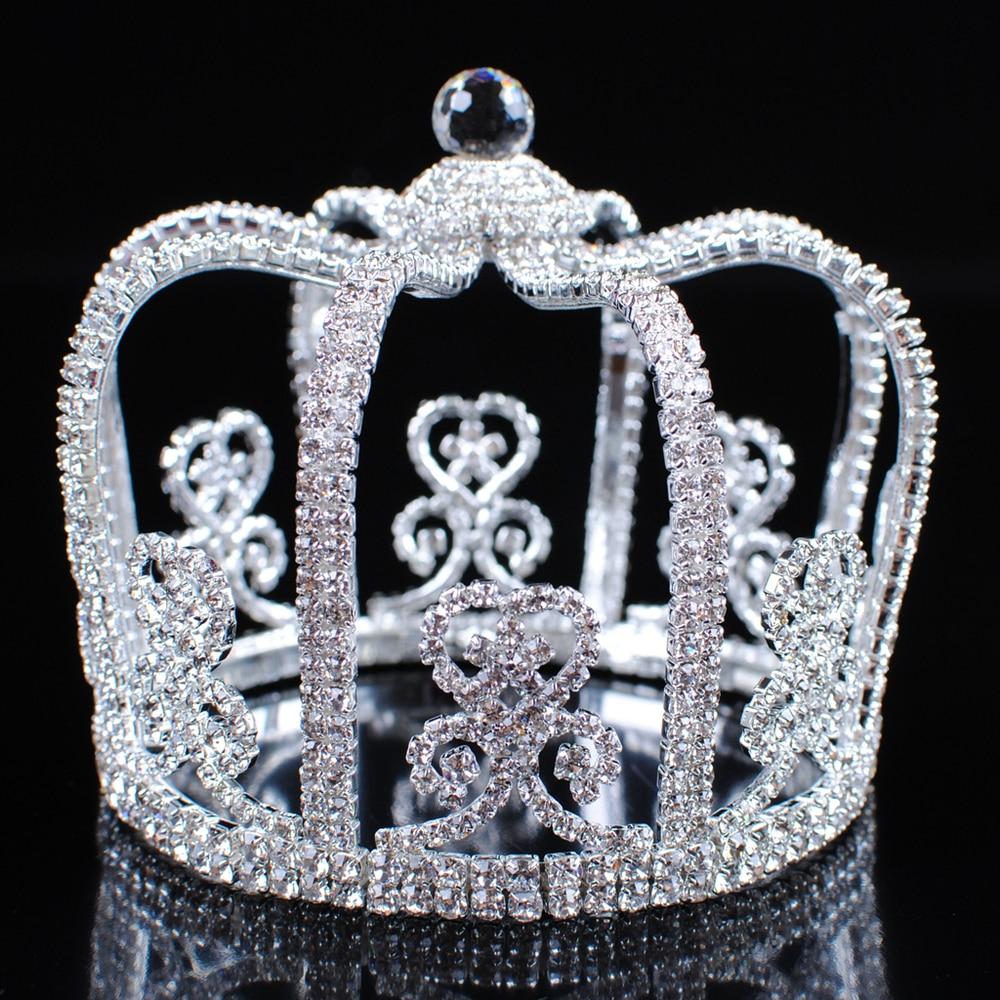 Crowns full circle round tiaras rhinestones crystal wedding bridal - Stunning Men Round Crowns King Prince Tiaras Clear Rhinestone Crystal Wedding Bridal Pageant Party Costumes Hair