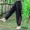 Primavera Verão Novo Cintura Alta Botão E Zíper Longo Pant moda Novas Mulheres do Harém Calça Casual Cor Sólida Calças Soltas 2017