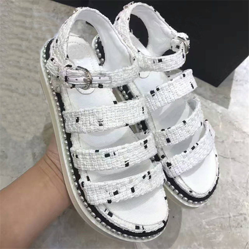 New Summer Sandals Tide Shoes Woman Platform Flats Ankle Strap Sandals Designer Pearls Woman Cozy Sandals Gladiator Woman Shoes рюкзак black dragon mojo pax рюкзак black dragon