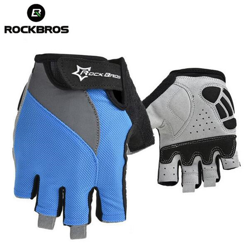 RockBros Cycling font b Gloves b font Guantes Ciclismo Men Women GEL Breathable Half Finger MTB