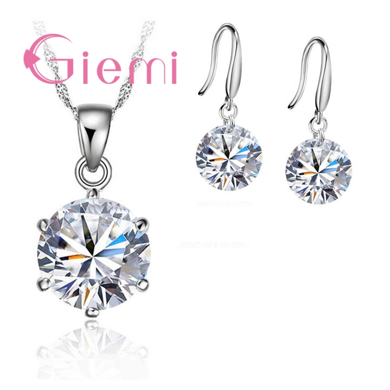 GIEMI Delicate Round Crystal Necklace Earrings For Mother Women Anniversary Gift Jewellery Set S90 Silver Color