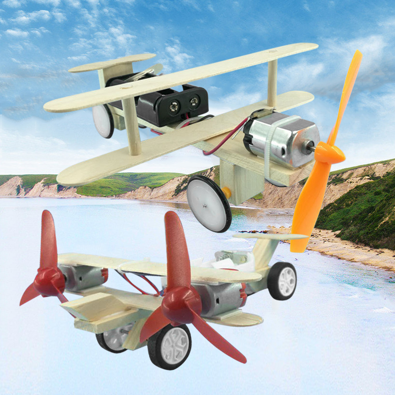 DIY Electric Handmade Taxiing Airplane Model Blocks Toy Kids Assembling Electric Toy Educational Experiment Toys For Kids Gift