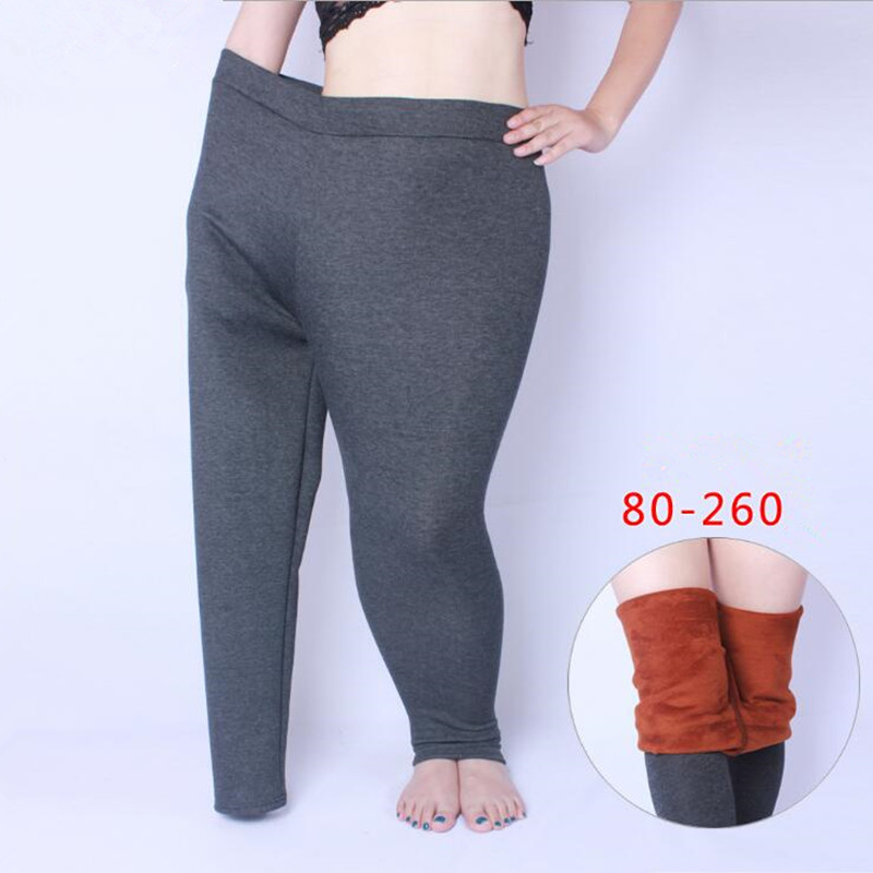 Gray High Elastic Waist Winter Plus Velvet Thicken Women S Leggings Warm Pants Good Quality Cashmere