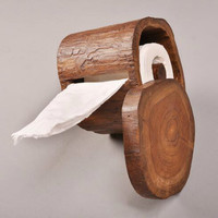 Retro solid wood personality creative toilet paper tray home hotel paper towel rack bathroom roll holder WF3051637