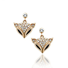 USTAR Lovely Fox Austria Crystals Earrings Zircon  Gold color Fashion Stud Earring for Women Wedding Party Classic Jewelry