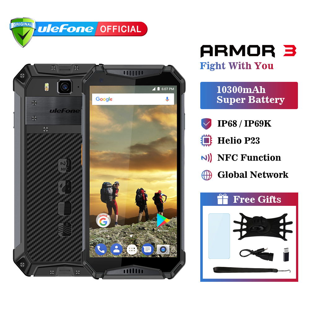 Ulefone Armor 3 IP68 Waterproof Mobile Phone Android 8.1 5.7 FHD+ Octa Core helio P23 4GB 64GB NFC Global Version Smartphone