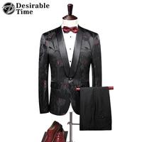 Black Groom Tuxedo Suit Men Shawl Lapel Slim Fit Wedding Suits for Men 2018 New Arrival Prom Party Floral Dress Mens Suits DT315