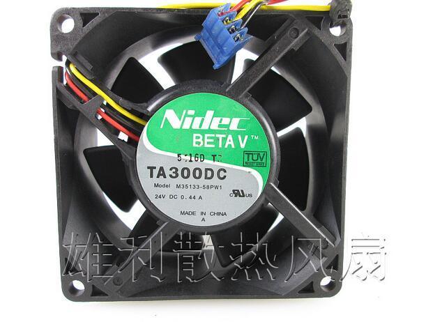 NIDEC 80*80*38 8CM DC 24V 0.44A M35133-58PW1 3 Lines Inverter Equipment Cooling Fan delta ffb0824vhe 8038 dc 80 80 38mm dc 24v 0 25a 4200rpm 57 21cfm cooling fan