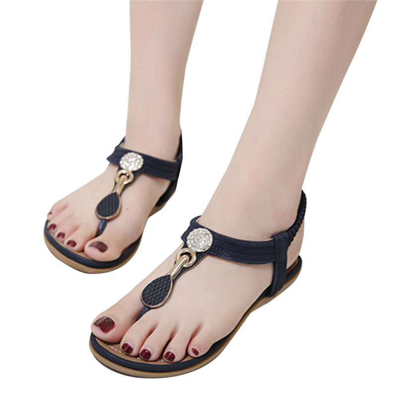 Chaussures Décoration brown D'été Sandales Femmes Strass Métal De Occasionnels Bohême Simples Plage Mode Blue En Appartements Zwzdw8q