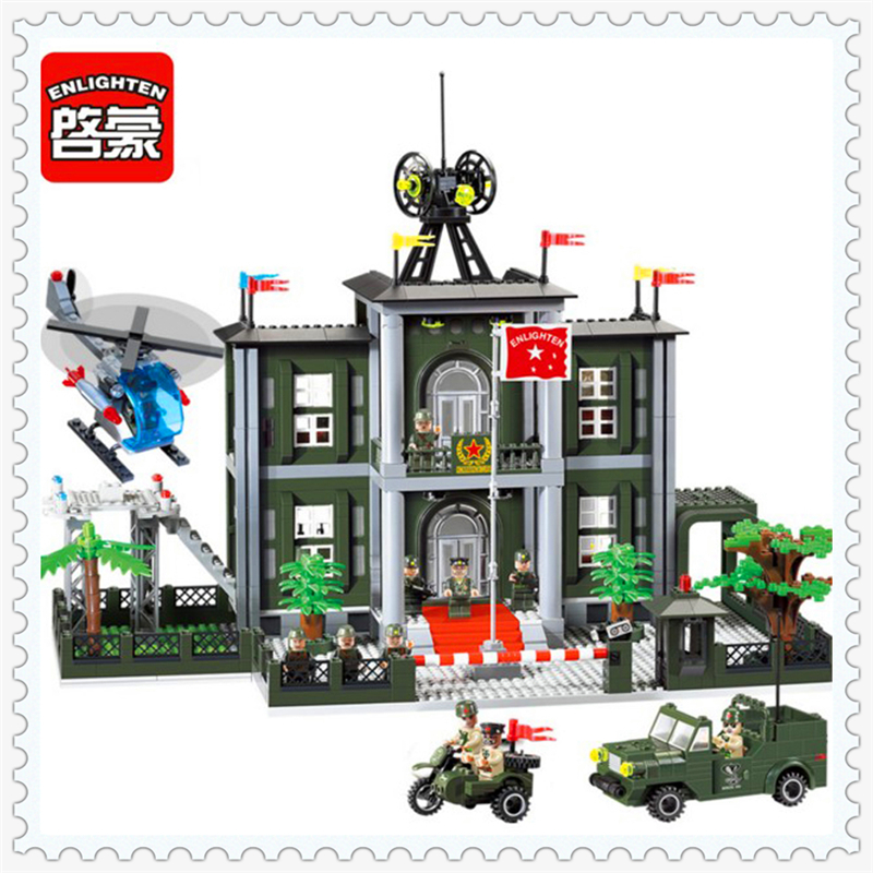 ENLIGHTEN 825 Military Police Headquarters Model Building Block 1048Pcs DIY Educational  Toys For Children Compatible Legoe 0367 sluban 678pcs city series international airport model building blocks enlighten figure toys for children compatible legoe