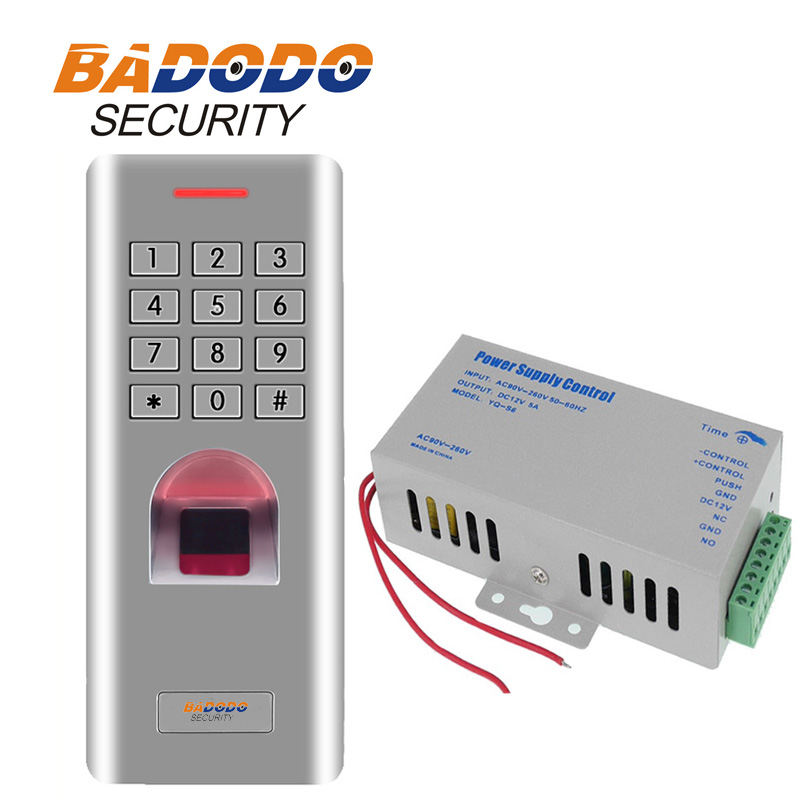3000 users Waterproof IP66 fingerprint access keypad reader with 12V 5A Door Lock RFID reader Power