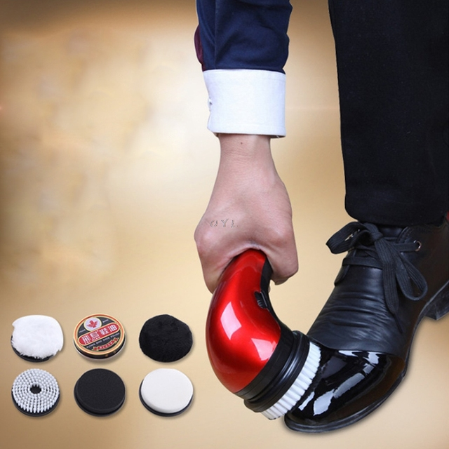 Portable Handheld Automatic Electric Shoe Brush Shine Polisher 2 Ways Power Supply  EU Plug