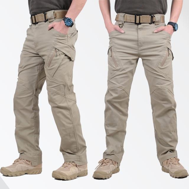 GEJIAN IX9 Cidade Militar Carga Calças Tactical SWAT Calças de Combate Do Exército Dos Homens Casuais Masculinos Muitos Bolsos Calças de Algodão Stretch
