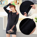 889# Fashion Winter Maternity Mother Nursing Tops Autumn Velvet Thick Warm Breastfeeding Mini Dress Breast Feeding Tees T Shirts