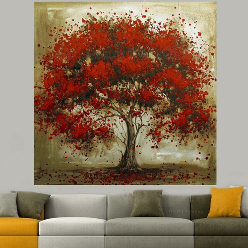 Kirkland abstract wall decor : Hand made oil painting on canvas red flower tree