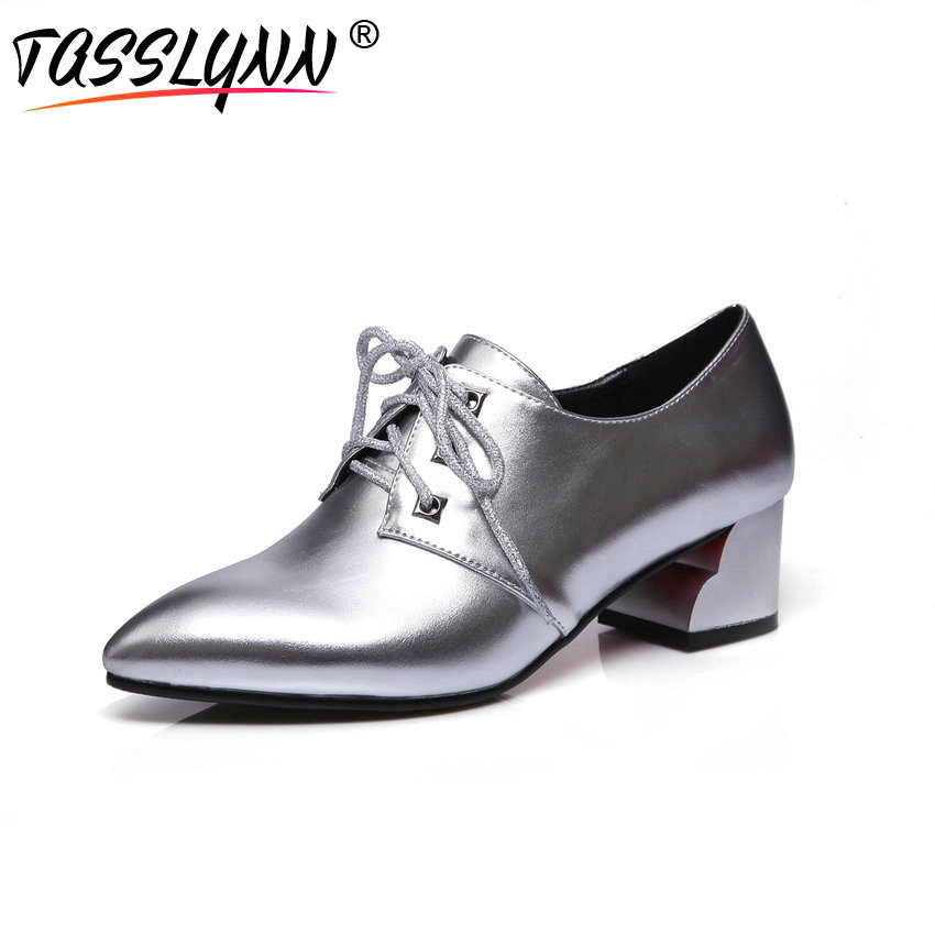 TASSLYNN 2018 Women Pumps Sliver Lace Up Causal Shoes Women Pointed Toe Square High Heel British Office &career Shoes Size 34-39